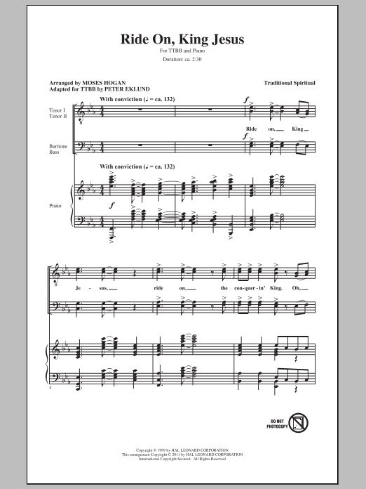 Ride On, King Jesus (arr. Moses Hogan) Sheet Music