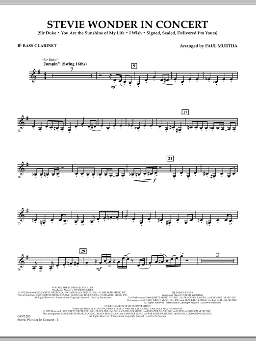Stevie Wonder In Concert - Bb Bass Clarinet (Concert Band)