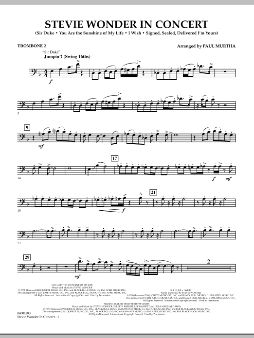 Stevie Wonder In Concert - Trombone 2 (Concert Band)
