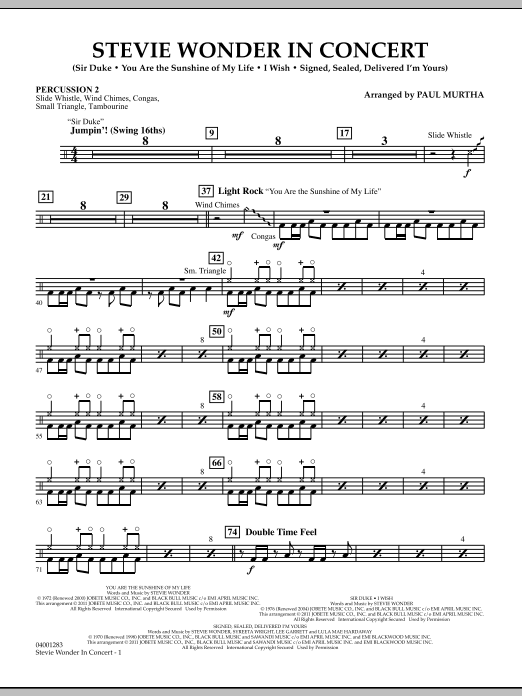 Stevie Wonder In Concert - Percussion 2 (Concert Band)