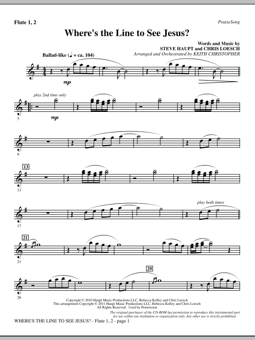Where's The Line To See Jesus? - Flute 1 & 2 Sheet Music