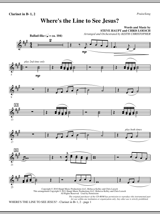 Where's The Line To See Jesus? - Bb Clarinet 1 & 2 Sheet Music
