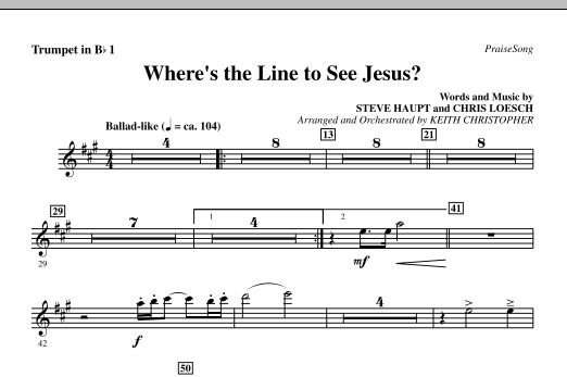 Where's The Line To See Jesus? - Bb Trumpet 1 Sheet Music