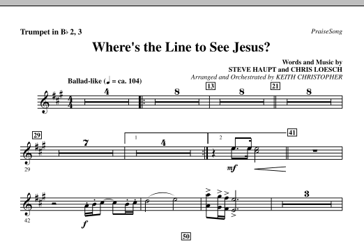 Where's The Line To See Jesus? - Bb Trumpet 2,3 Sheet Music