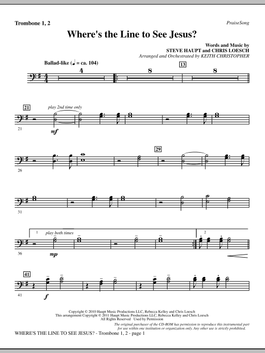 Where's The Line To See Jesus? - Trombone 1 & 2 (Choir Instrumental Pak)