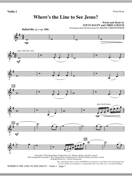 Where's The Line To See Jesus? - Violin 1 Sheet Music