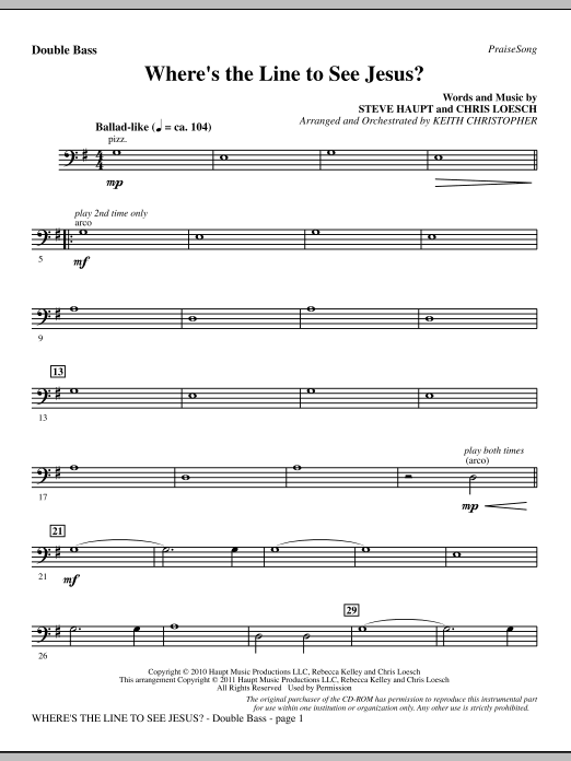 Where's The Line To See Jesus? - Double Bass Sheet Music