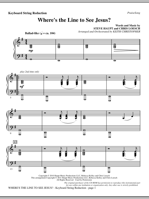 Where's The Line To See Jesus? - Keyboard String Reduction (Choir Instrumental Pak)