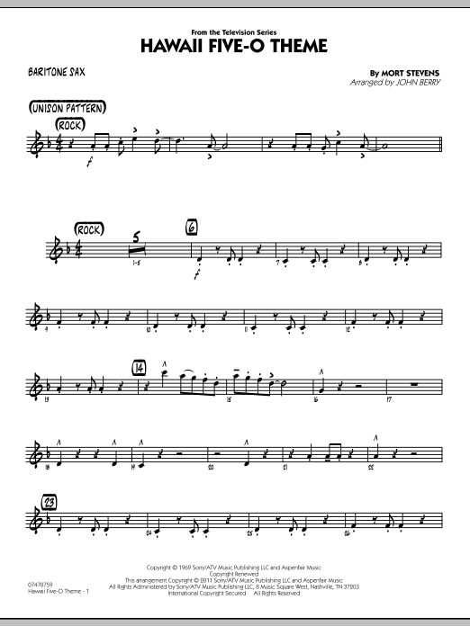 Hawaii Five-O Theme - Baritone Sax (Jazz Ensemble)