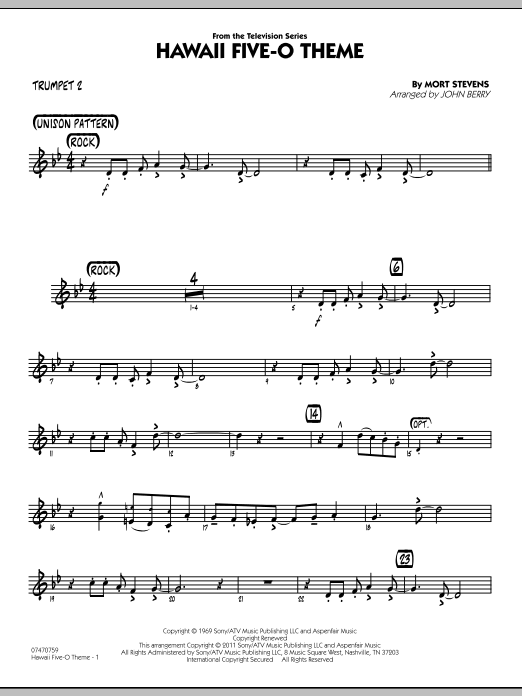 Hawaii Five-O Theme - Trumpet 2 (Jazz Ensemble)