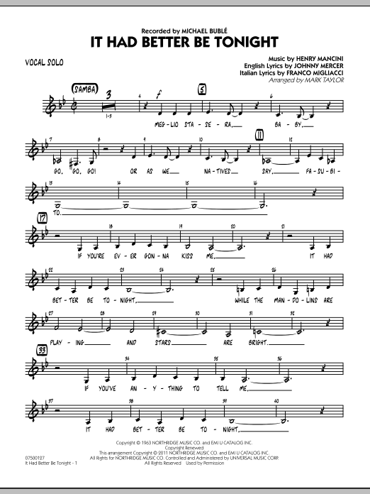 It Had Better Be Tonight - Vocal Solo (Jazz Ensemble)