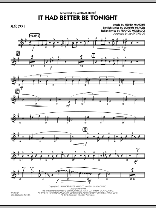 It Had Better Be Tonight - Alto Sax 1 (Jazz Ensemble)