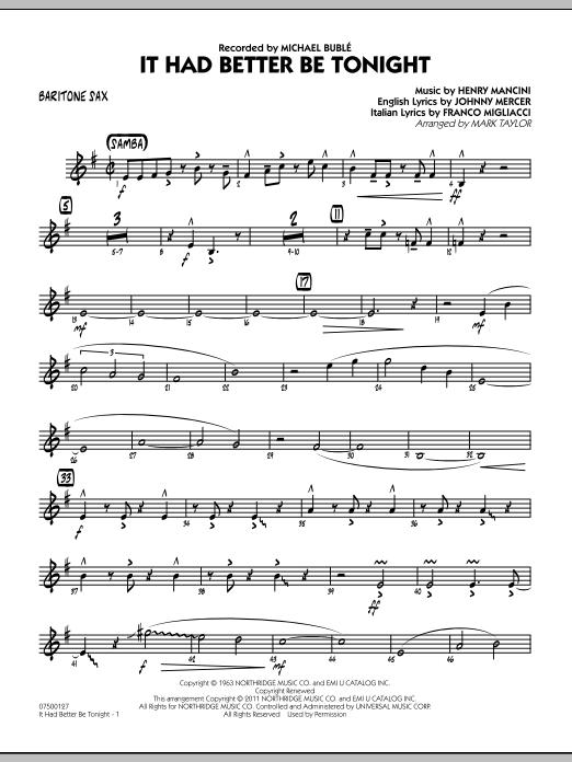 It Had Better Be Tonight - Baritone Sax (Jazz Ensemble)