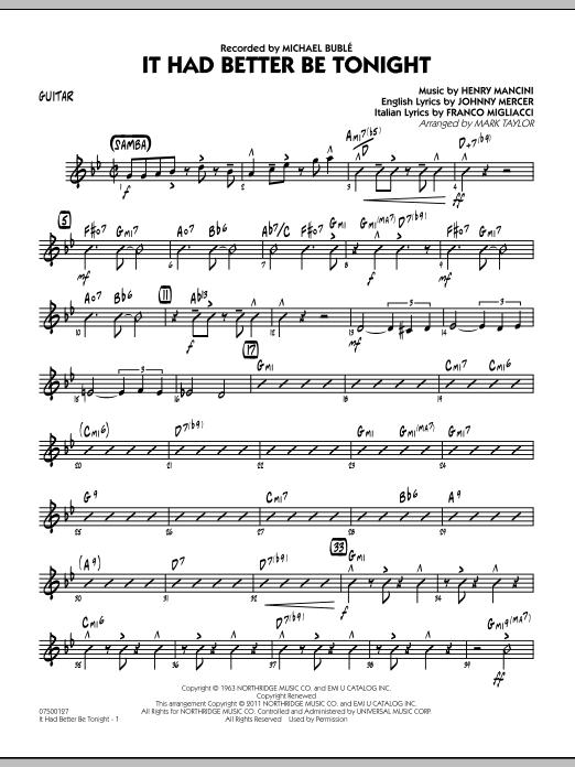 It Had Better Be Tonight - Guitar (Jazz Ensemble)