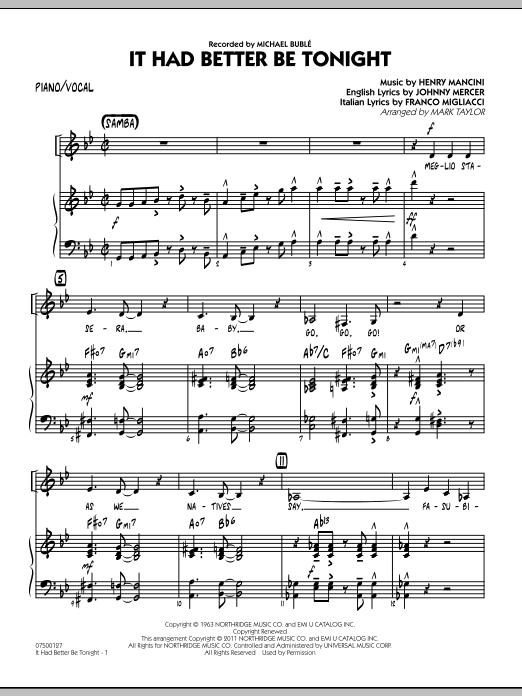 It Had Better Be Tonight - Piano/Vocal (Jazz Ensemble)