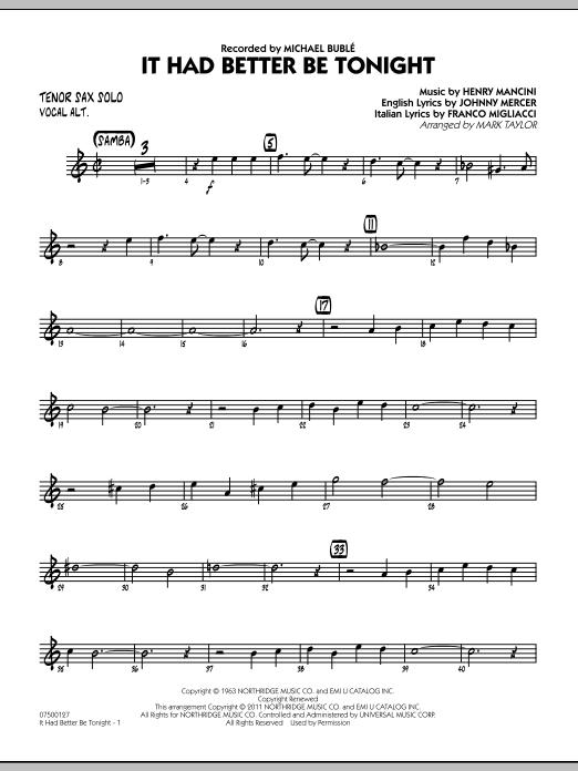 It Had Better Be Tonight - Tenor Sax Solo (Jazz Ensemble)