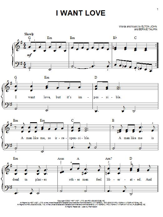 I Want Love (Easy Piano)