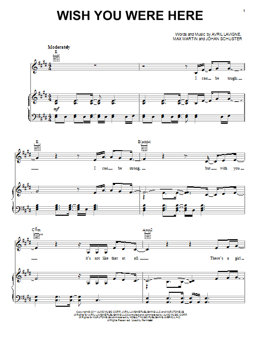 Guitar guitar tabs wish you were here : Wish You Were Here sheet music by Avril Lavigne (Piano, Vocal ...