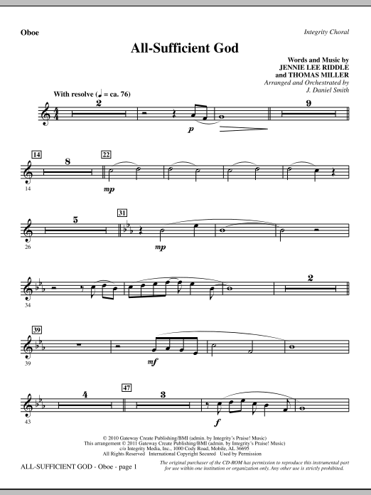 All-Sufficient God - Oboe Sheet Music