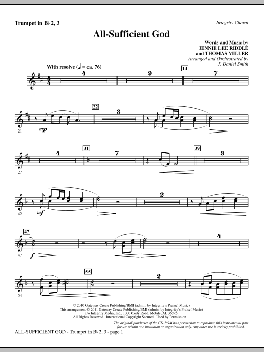 All-Sufficient God - Trumpet 2 & 3 Sheet Music