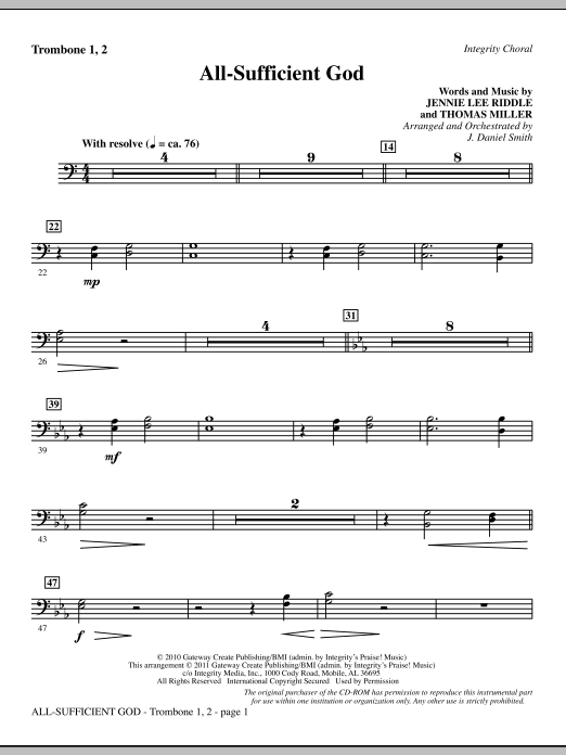 All-Sufficient God - Trombone 1 & 2 Sheet Music
