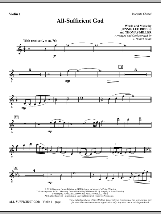All-Sufficient God - Violin 1 Sheet Music