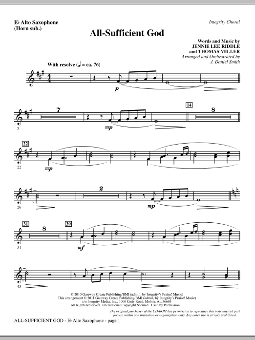 All-Sufficient God - Alto Sax (sub. Horn) Sheet Music