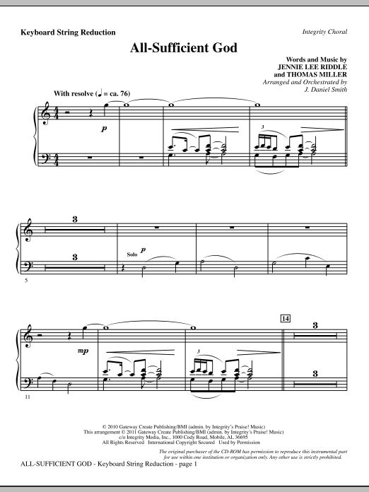 All-Sufficient God - Keyboard String Reduction Sheet Music