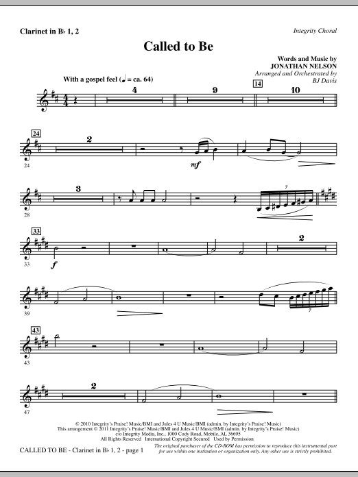 Called To Be - Clarinet 1 & 2 Sheet Music