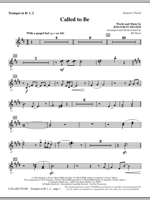 Called To Be - Trumpets 1 & 2 Sheet Music