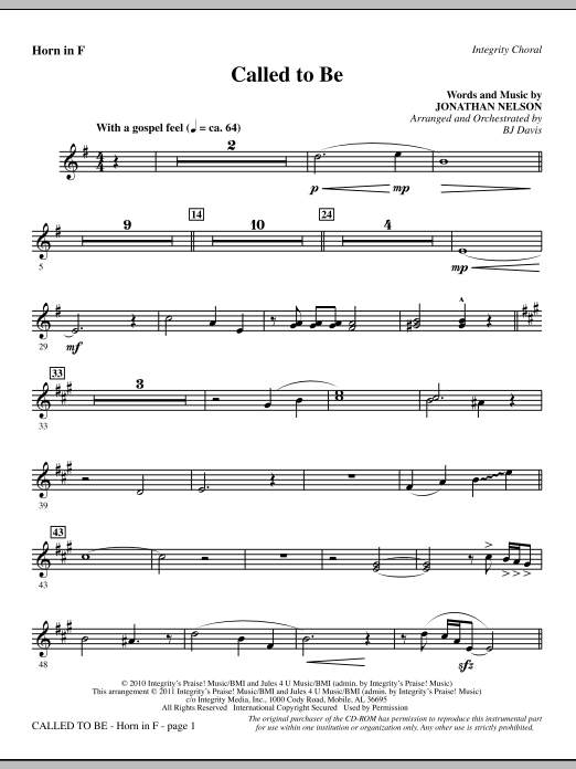 Called To Be - F Horn (Choir Instrumental Pak)