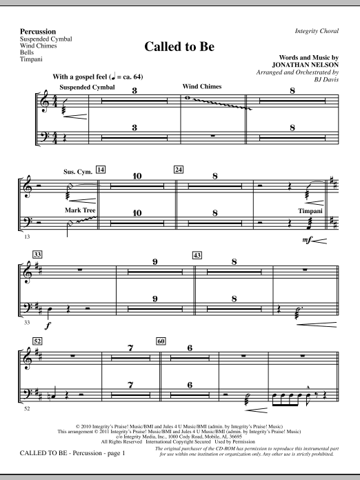 Called To Be - Percussion (Choir Instrumental Pak)
