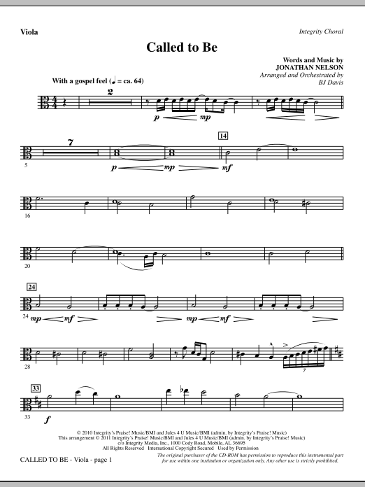 Called To Be - Viola Sheet Music