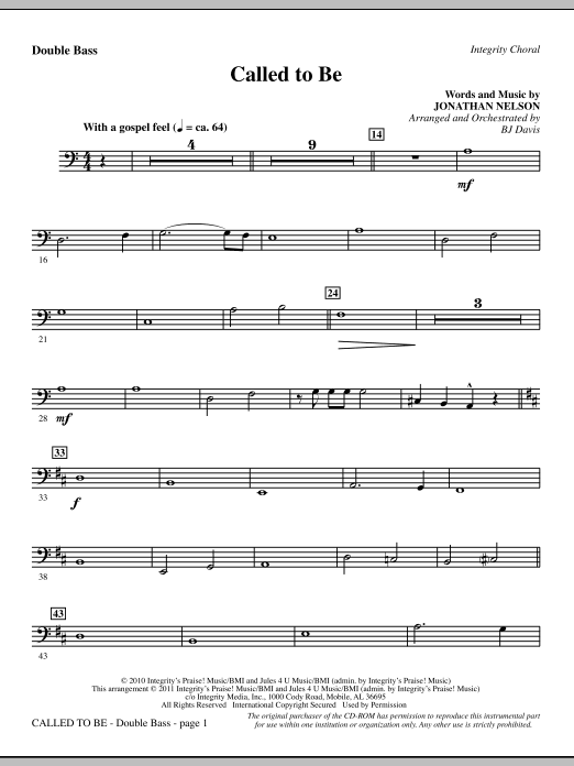 Called To Be - Double Bass (Choir Instrumental Pak)