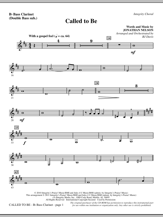 Called To Be - Bass Clarinet (sub. dbl bass) Sheet Music