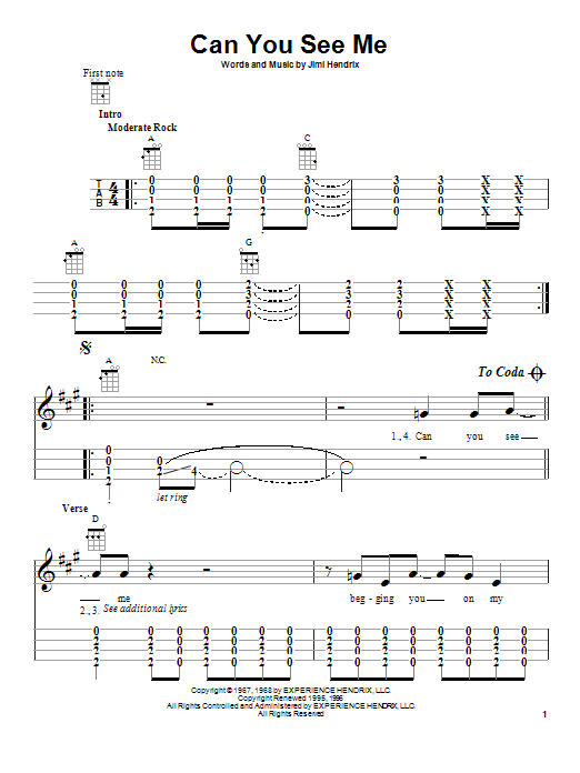 Tablature guitare Can You See Me de Jimi Hendrix - Ukulele