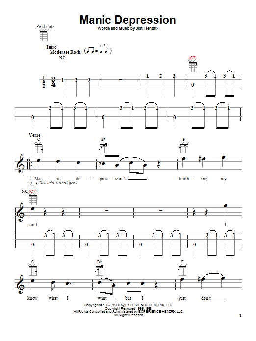 Tablature guitare Manic Depression de Jimi Hendrix - Ukulele