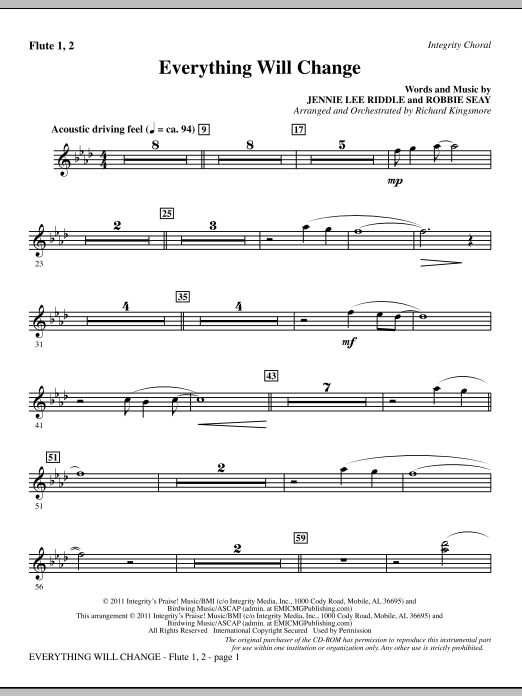 Everything Will Change - Flute 1 & 2 Sheet Music