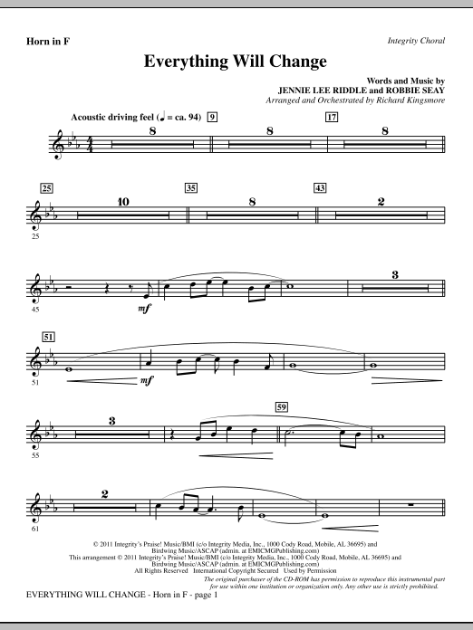 Everything Will Change - F Horn Sheet Music