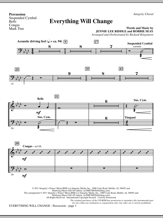 Everything Will Change - Percussion (Choir Instrumental Pak)
