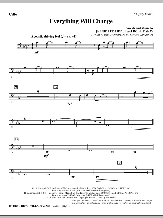Everything Will Change - Cello (Choir Instrumental Pak)