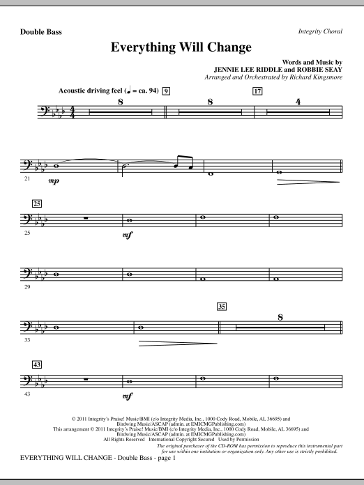 Everything Will Change - Double Bass Sheet Music