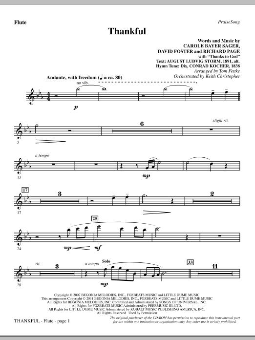 Thankful - Flute Sheet Music
