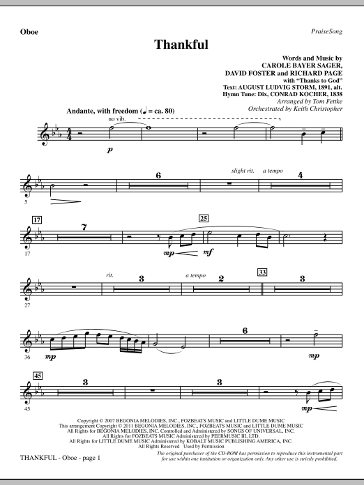 Thankful - Oboe Sheet Music