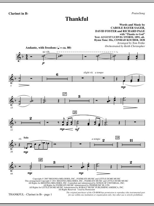 Thankful - Clarinet Sheet Music