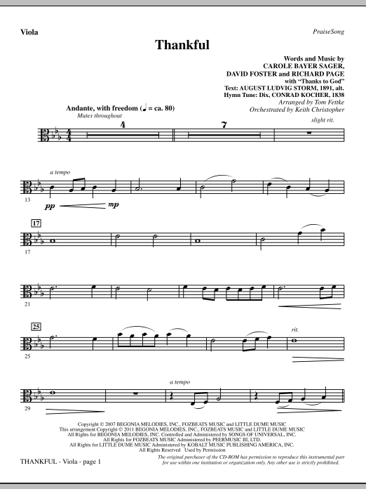 Thankful - Viola Sheet Music