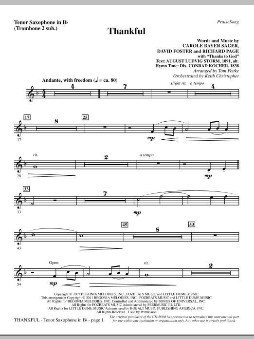 Thankful - Tenor Sax (sub. Tbn 2) (Choir Instrumental Pak)