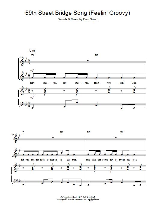 The 59th Street Bridge Song (Feelin' Groovy) Sheet Music
