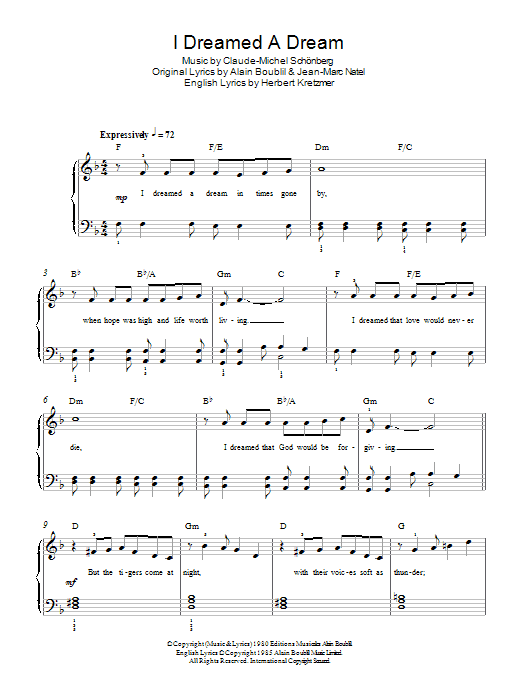 I Dreamed A Dream (from Les Miserables) (Easy Piano)