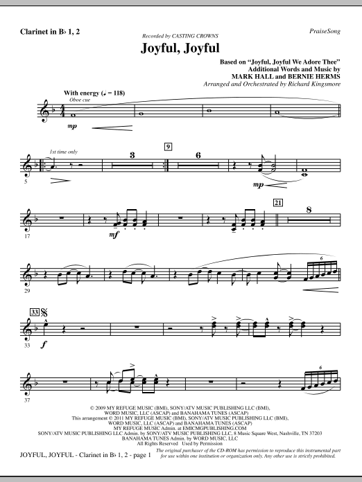 Joyful, Joyful - Clarinet (Choir Instrumental Pak)